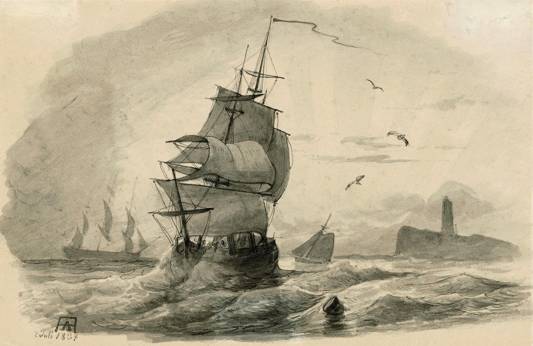 Andreas Achenbach (1815–1910) Dreimaster Im Wind, 1837, Tusche Auf Papier, 12,7 X 19,3 Cm, Sammlung Wolfgang Peiffer