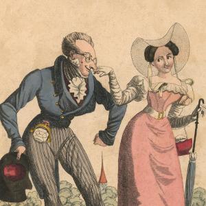 Anonym: Die Auserwählte eines Krähwinkler Zierbengels führt ihren Geliebten an der Nase herum (Detail), kol. Kupferstich, Slg. D. Ante